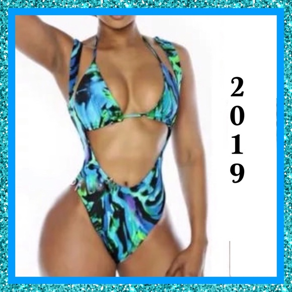 Other - BNWT-2019-Sexy Multi Blue Pattern 2 Piece Swimsuit